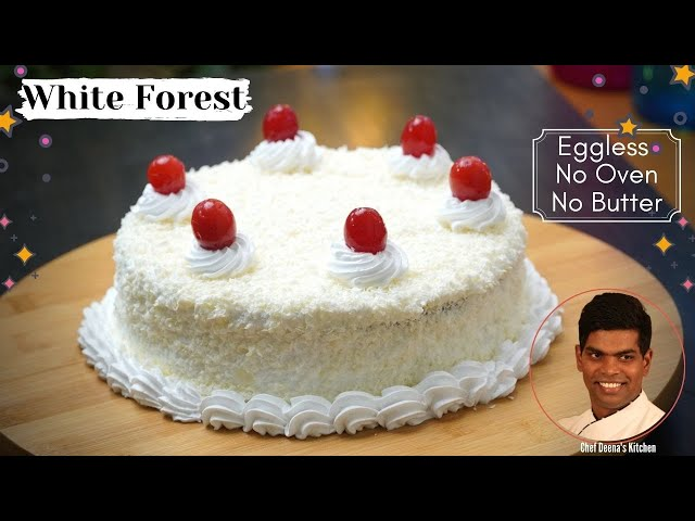 White Forest Cake Recipe in Tamil | No Oven Eggless Birthday Cake | CDK #370 | Chef Deena's Kitchen