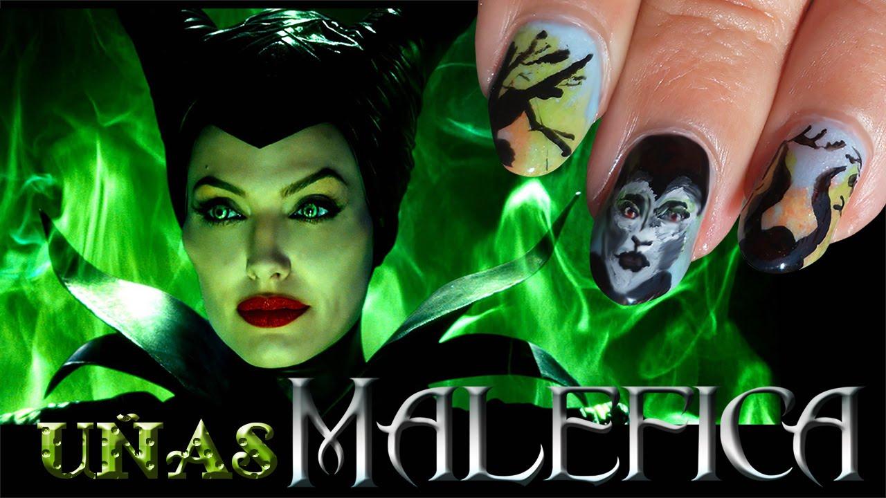 Nail Art - Diseño de uñas Maléfica Disney - YouTube