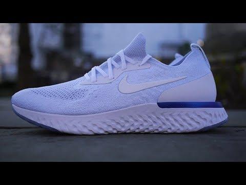 ce1d49e63282 Nike Epic React Flyknit Quick Look   On Feet (Triple White + Racer Blue)