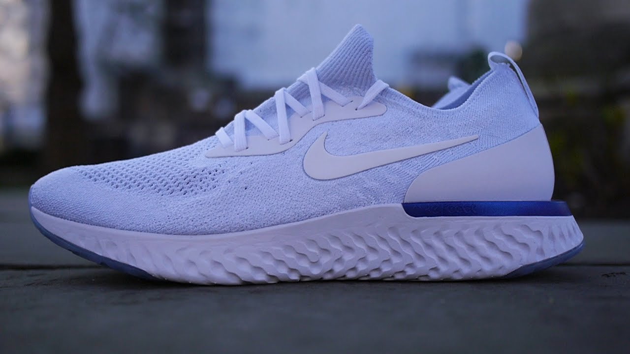 1bc9cbf26248 Nike Epic React Flyknit Quick Look   On Feet (Triple White + Racer Blue)