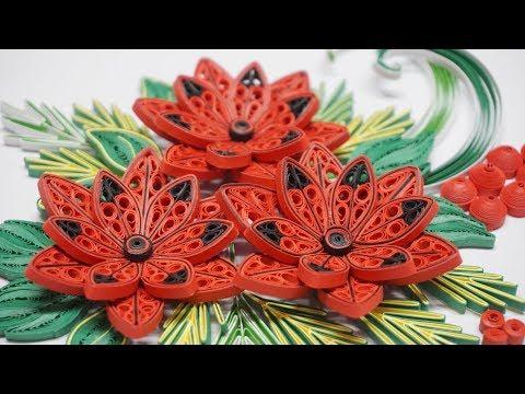 Quilling Poinsettia V5 Tutorial   DIY Paper Poinsettia Home Decoration
