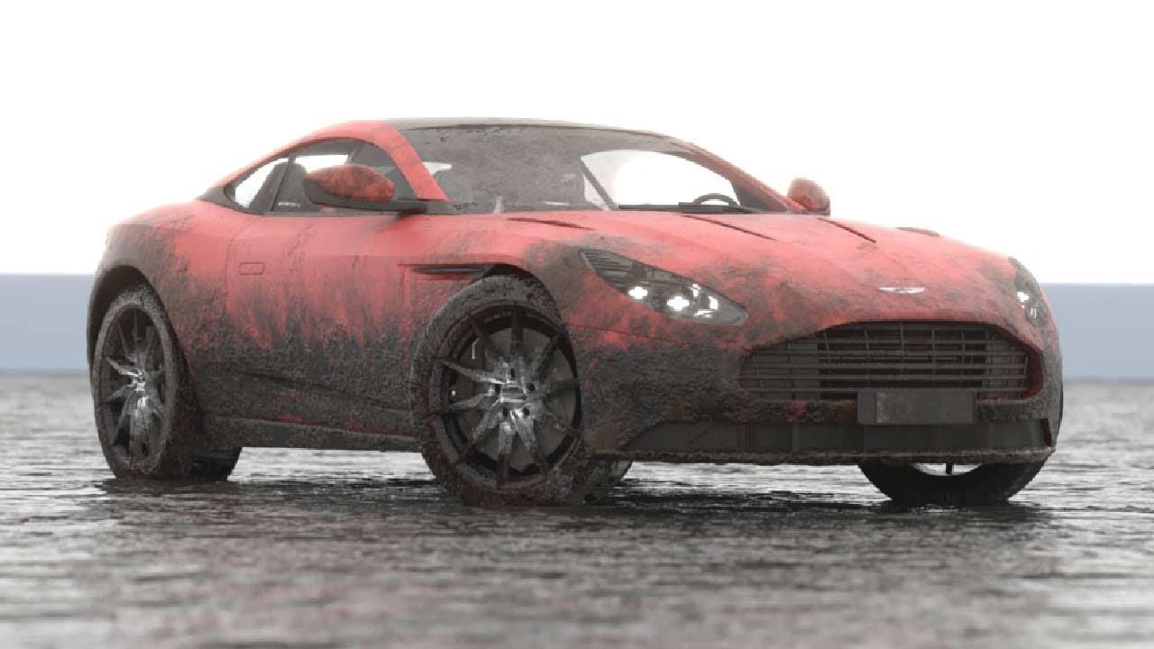 Aston Martin Db11 Vs Muddy Water Vray Phoenix Fd Youtube