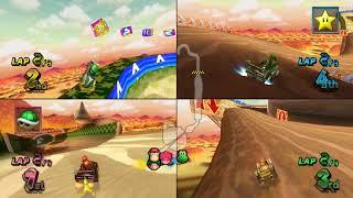 Mario Kart Wii Maple Treeway 4 player Netplay race 60fps