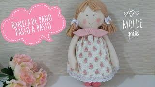 Boneca de pano fácil – Passo a passo com molde – cloth doll with mold