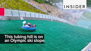 This tubing hill is on an Olympic ski jump slope