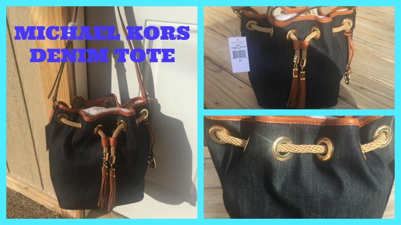4da9d52707d338 MICHAEL KORS Marina Large Denim Shoulder Bag - YouTube