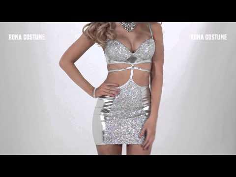 3150 strapped mini dress silver