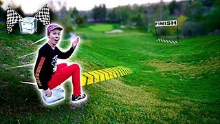 Giant Ice Block Slide At Public Golf Course! (35 Mph)