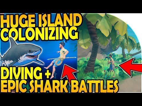 HUGE ISLAND COLONIZING - DIVING + EPIC SHARK BATTLES ( Raft Survival Gameplay Part 4 )