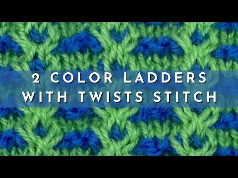 How To Knit The 2 Color Ladders With Twists Stitch English Style