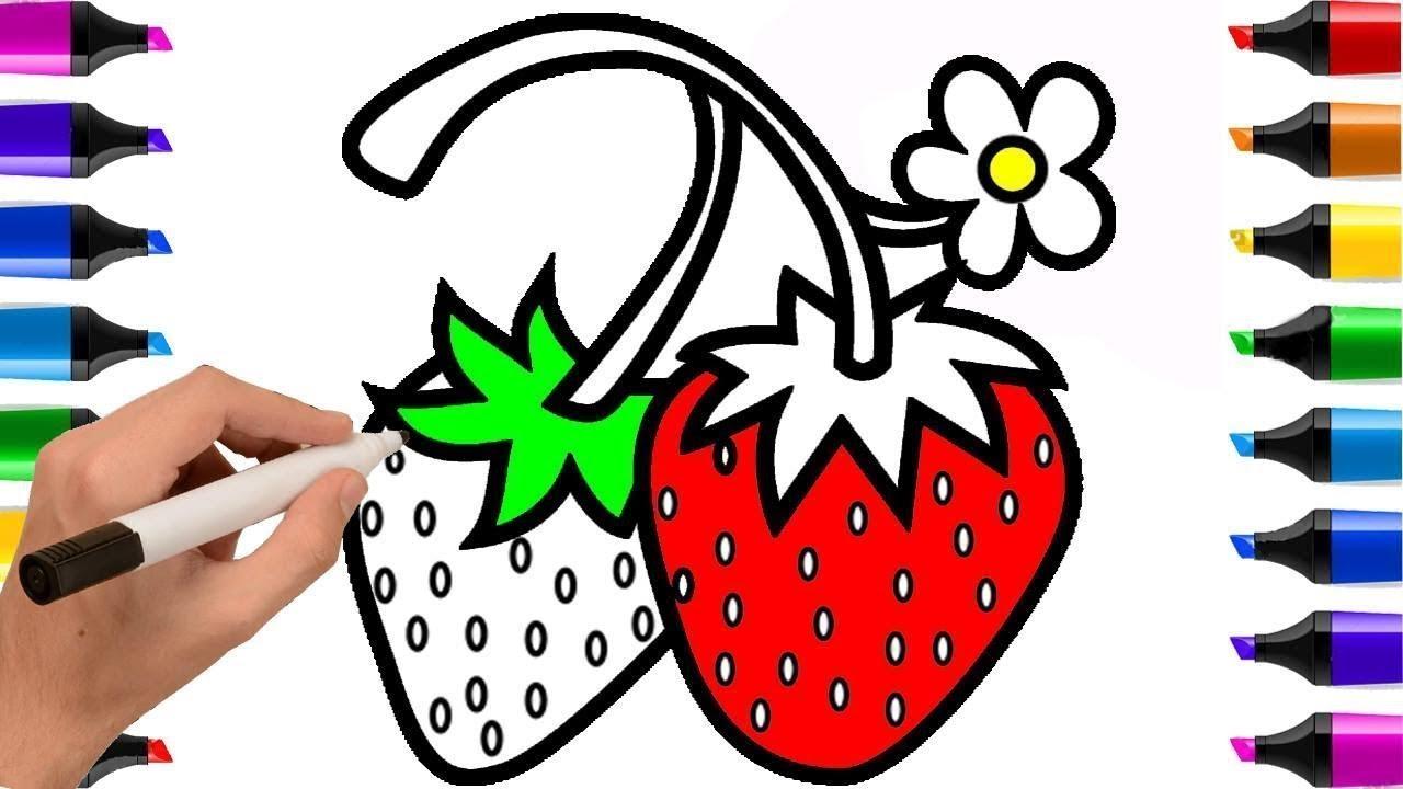 Frutas Livro Para Colorir Morango Flor Desenhar Para Criancas