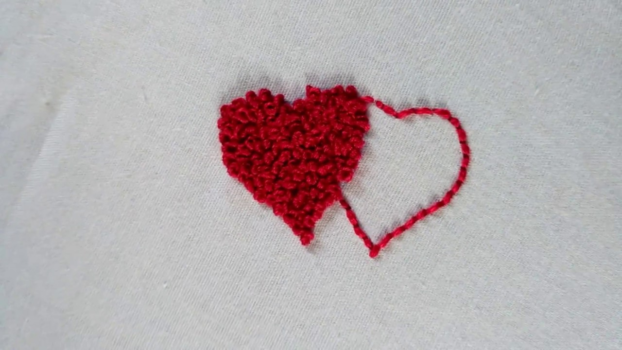 Hand Embroidery Heart Design French Knot Embroidery 2018 Youtube