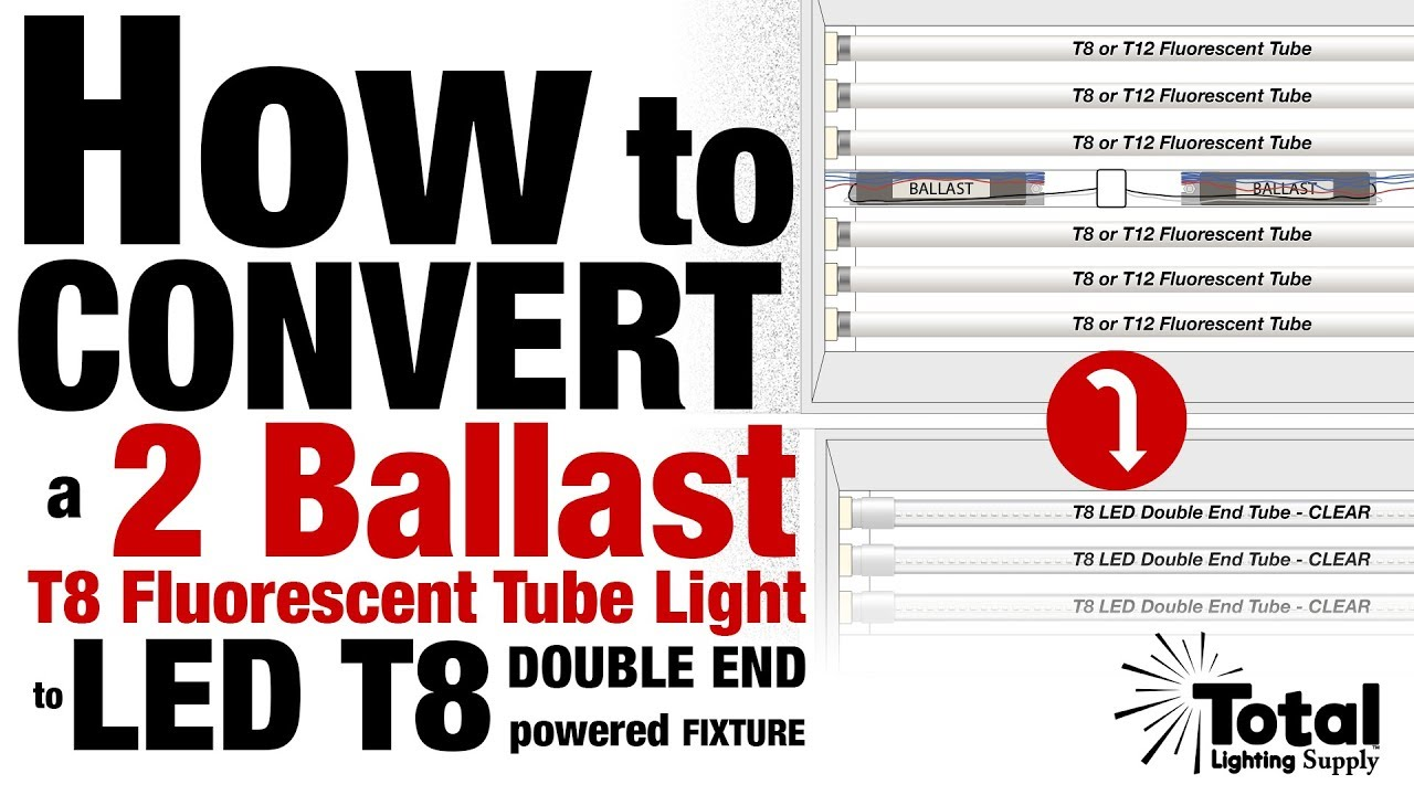 medium resolution of how to convert a two ballast t8 fluorescent tube light to led t8 double end powered fixture