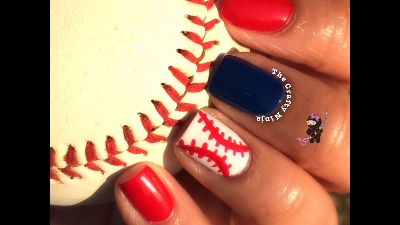baseball nail tutorial by the crafty ninja   youtube