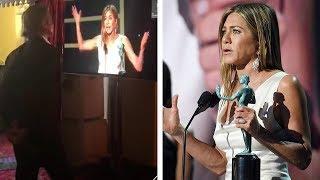 Brad Pitt Watches Jennifer Aniston's SAG Awards Speech Backstage (Exclusive)