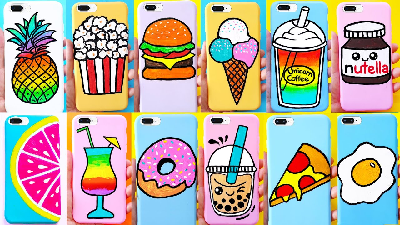DIY PHONE CASES (Food Theme) | Customizing Phone Cases