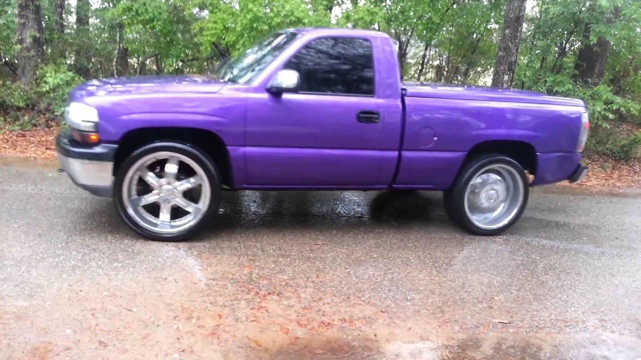 Cat Eye Chevy >> Purple Silverado burnout in rain - YouTube