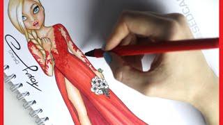 Topmodel Malbuch   How to draw Wedding dress   Hochzeitskleid malen   Copics    Foxy Draws