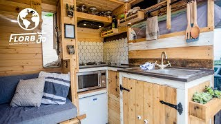 DIY VAN CONVERSION with INDOOR & OUTDOOR SHOWER has everything a MICRO HOME needs