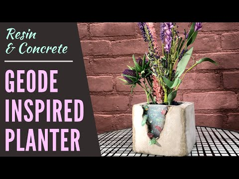 DIY Concrete and Resin Geode Inspired Planter with Epoxy and Crystals | How to