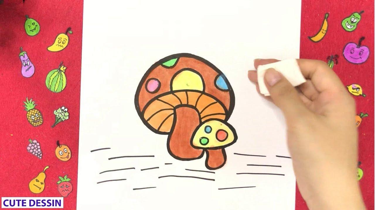 Comment dessiner et colorier un champignon mignon ...
