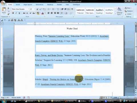 Format Your Reference or Works Cited Page with MS Word - YouTube