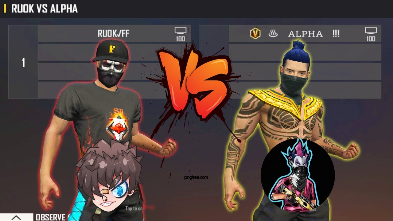 RUOK FF VS ALPHA FREE FIRE   ANKUSH VS ONE TAP KING - BEST ROOM EVER