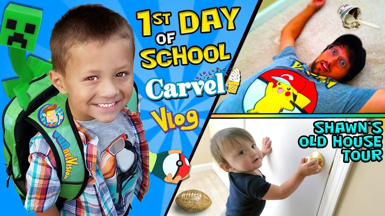 Download CHASE'S 1st Day of SCHOOL! + Shawn's Old House Tour w  Carvel Ice Cream FUNnel Vision Vlog