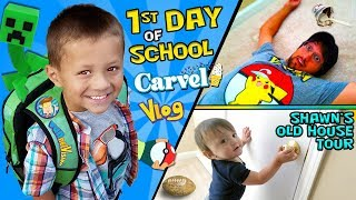 Chase's 1st Day Of School!   Shawn's Old House Tour W  Carvel Ice Cream Funnel Vision Vlog