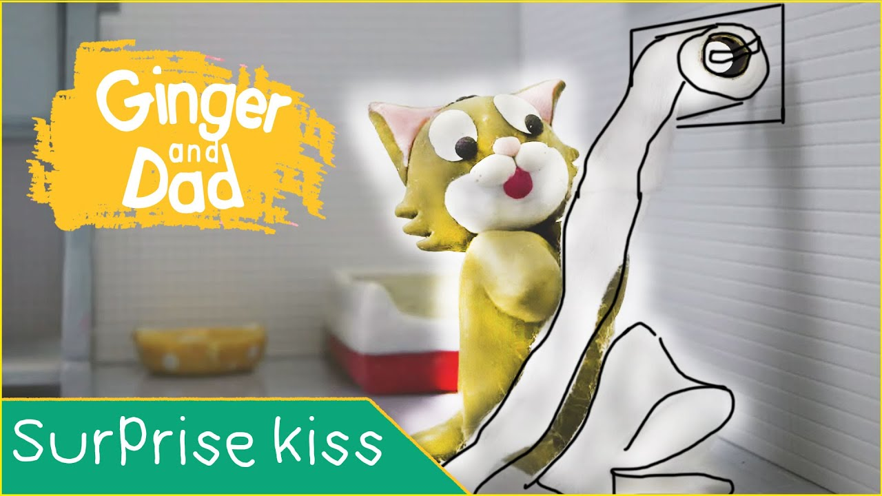 Surprise Kiss ? Ginger and Dad ASMR stop motion | Short Film Animation