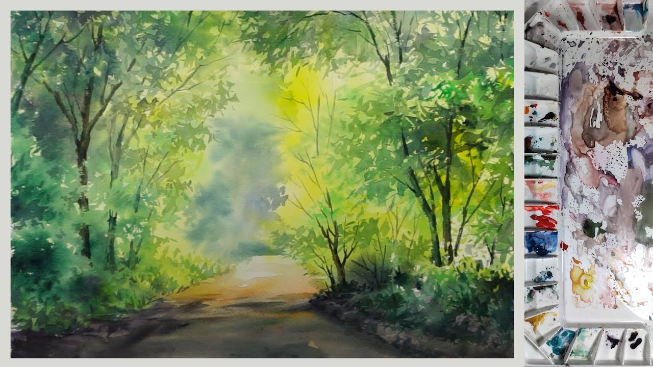 forest sunlight road watercolor painting without drawing youtube forest sunlight road watercolor painting without drawing