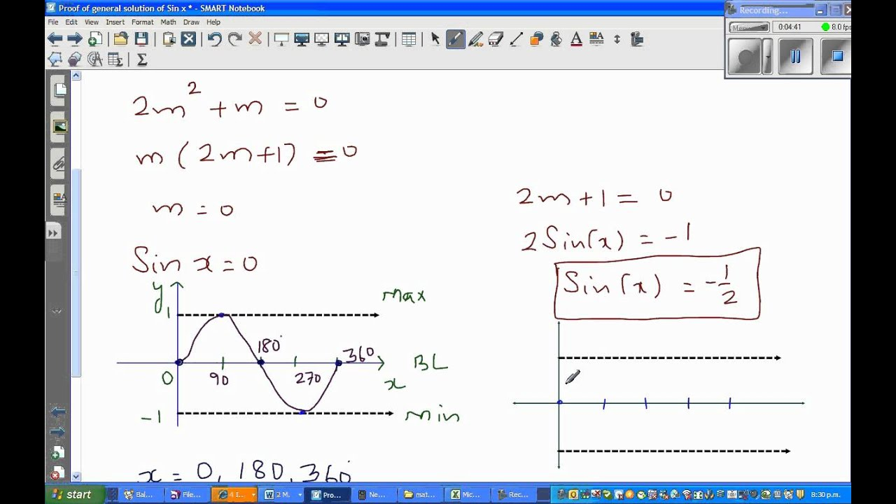 Solving trig equations by factorising - Solve 2 Sin^2(x ...