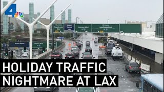 LAX Traffic Forces Frustrated Travelers to Get Out and Walk To Airport | NBCLA