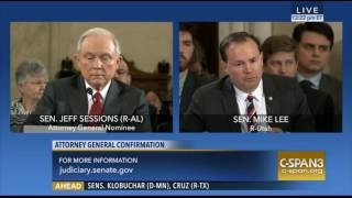 Utah Sen Mike Lee Exchange With Sen Sessions During AG Confirmation Hearing