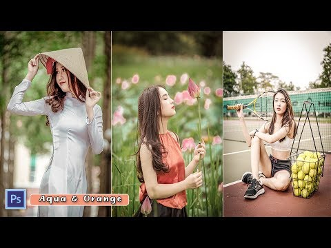 Aqua And Orange Color Gradient Effect    Photoshop Photo Editing Tutorial thumbnail