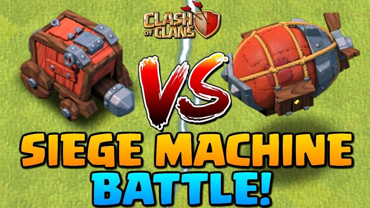 NEW SIEGE MACHINE VS. BATTLE! Wall Wrecker vs Battle Blimp - Clash of Clans Update | CoC 2018