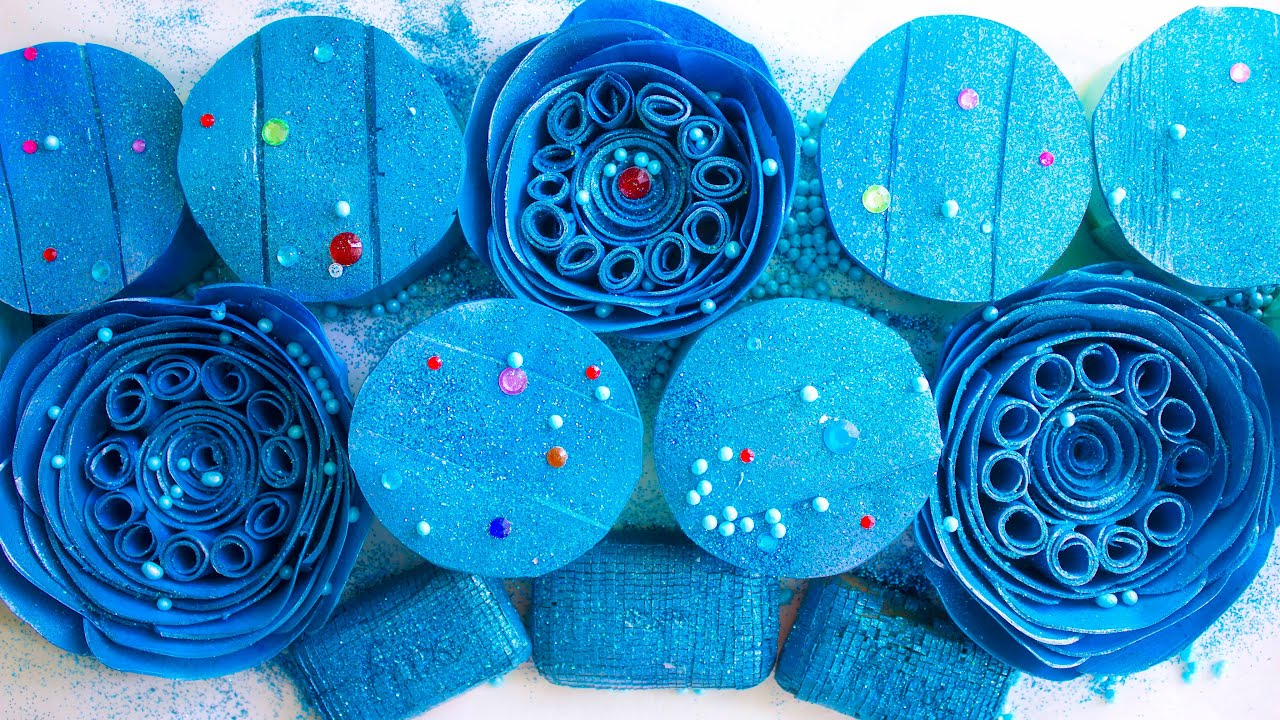 Beautiful flowers made of soap ASMR.🌸 Boxes with starch.😍 Cutting Cubes. Blue set.😴
