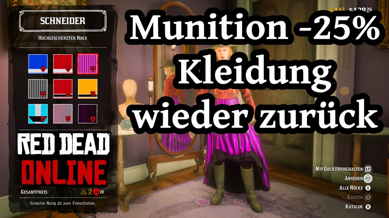 munition reduziert kleidung wieder zurück red dead redemption 2 online  deutsch / german
