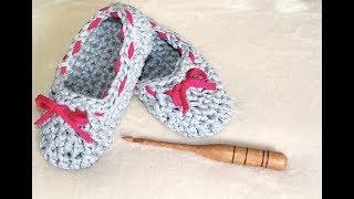 Pantufa de crochê com fio de malha