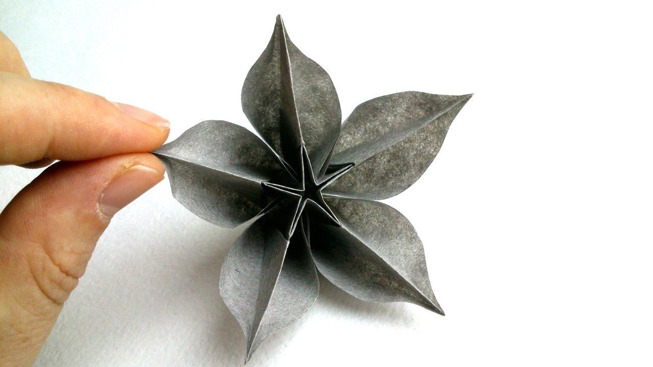 tuto origami fleur carambole