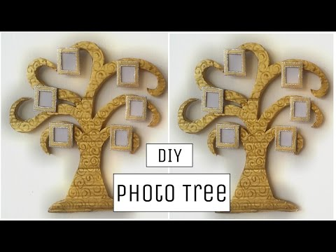 DIY Crafts: Innovative cardboard photo tree wall hanging - Best out of waste!