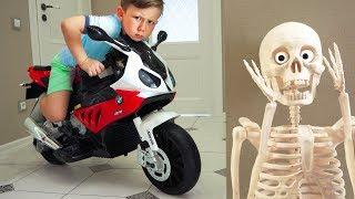 Senya hiding a new mini bike from Skeleton.
