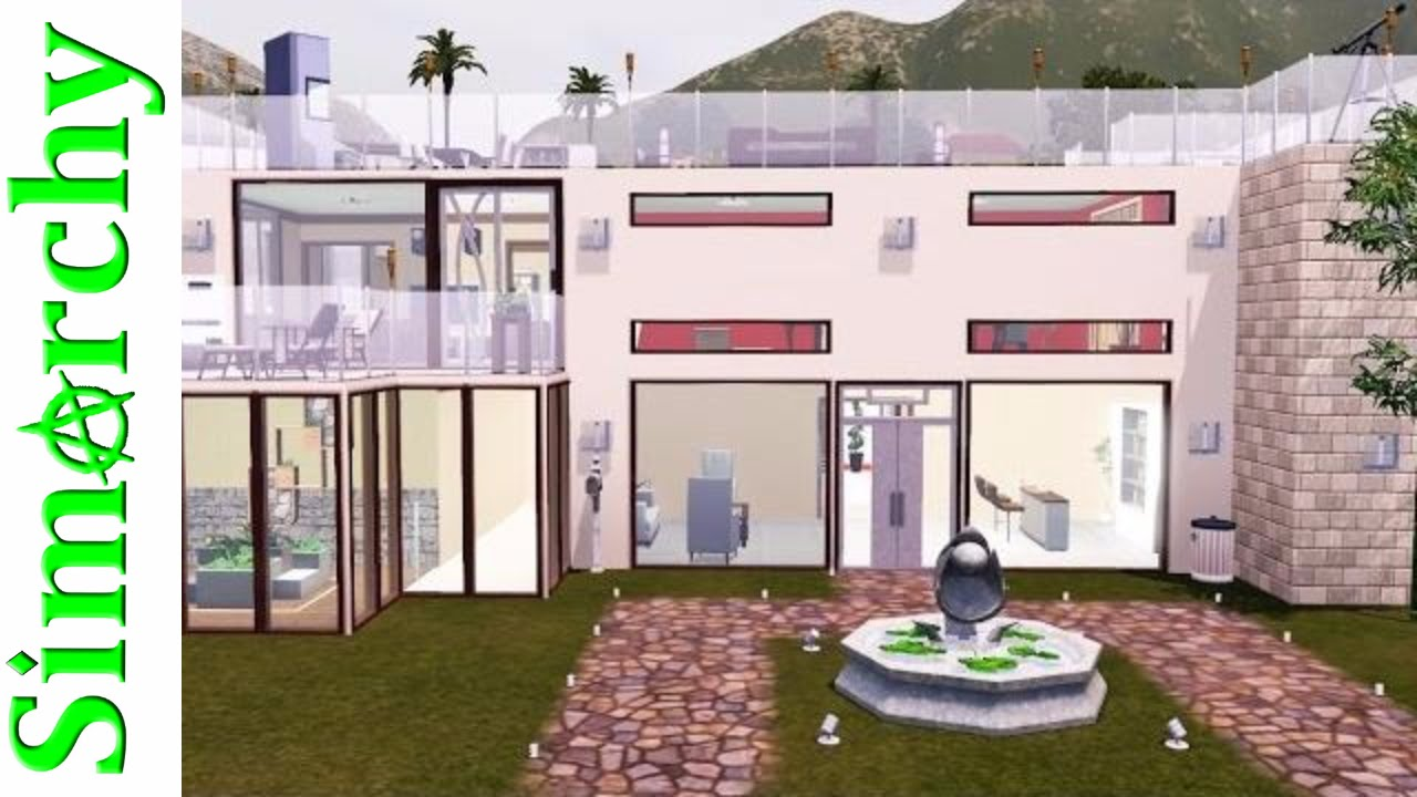 The sims 3 house tour large modern home with rooftop for Big modern house tour