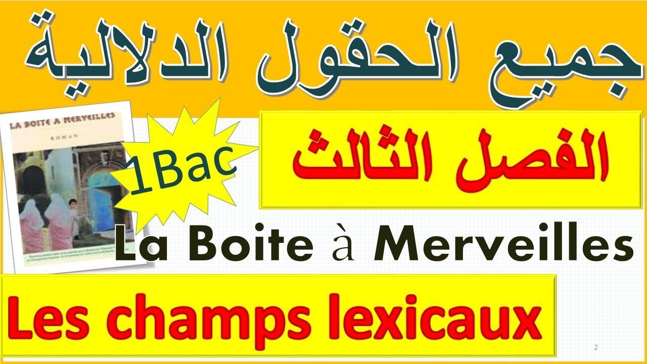 #tous_les_champs_lexicaux #laboite_à_merveilles #chapitre3 جميع الحقول الدلالية في الفصل الثالث1bac