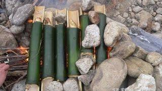 戶外如何制作美味竹筒飯 中國野外生存小哥