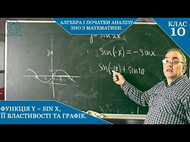 10 клас. Алгебра. Функція y=sinx, її властивості та графік.