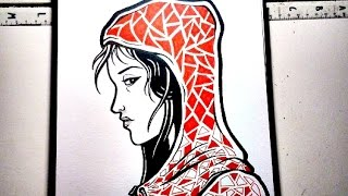 Drawing HOODIE GIRL - Graffiti Character