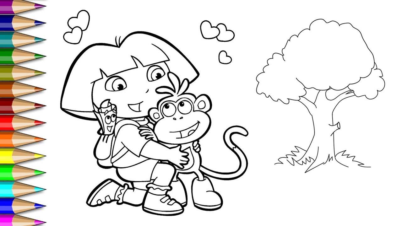 Menggambar Dan Mewarnai Dora The Explorer Mewarnai Dan Menggambar Untuk Anak Anak