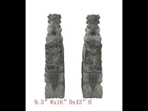 Pair Huge Chinese Antique Hand Carving FenShui Drum Foo Dog Statue WK2906