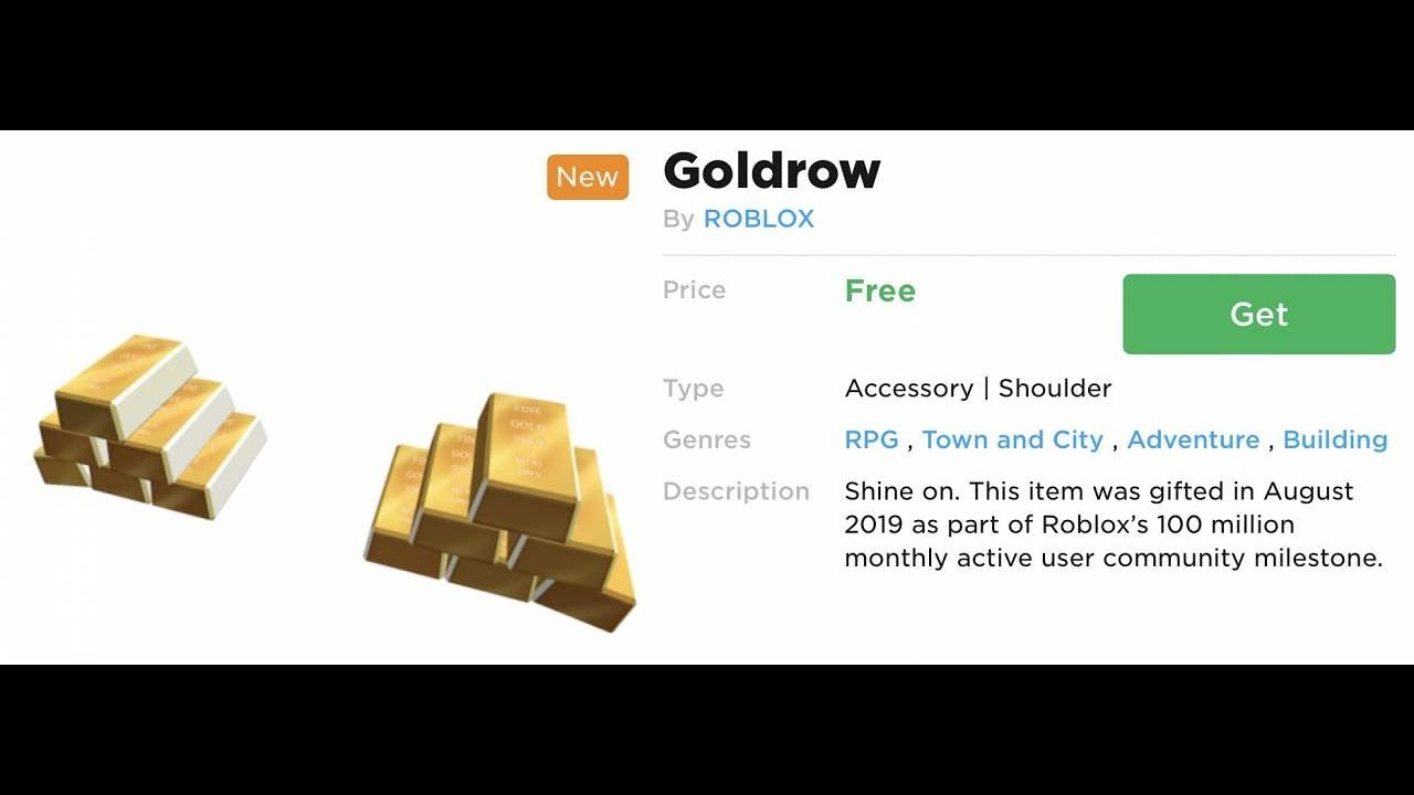 How To Get The Goldrow Free Roblox Avatar Item Youtube